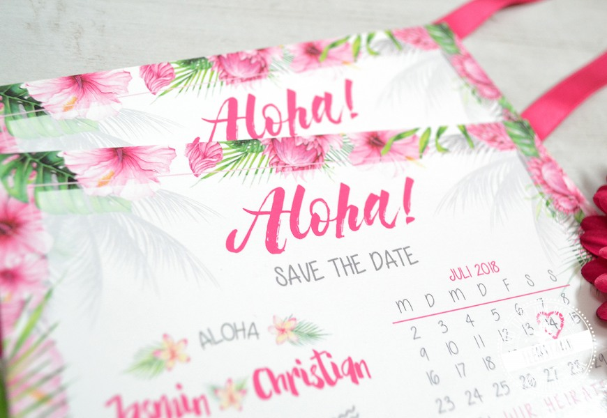 Save the Date Karte Aloha mit rosa Fragipani